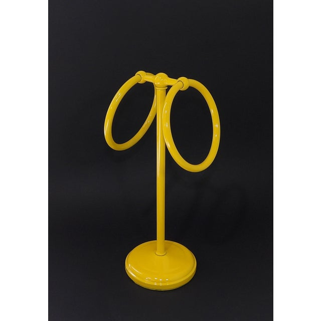 Mid-Century Modern Yellow Bathroom Hand Towel Holder Rack For Sale - Image 9 of 9