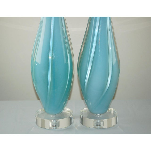 Hollywood Regency Vintage Murano Opaline Glass Table Lamps Blue For Sale - Image 3 of 9