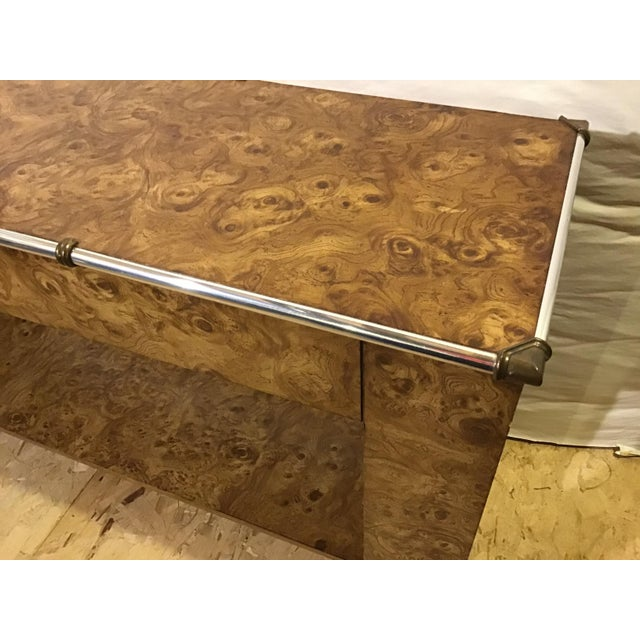 1970s 1970s Hollywood Regency Faux Burl Wood Laminate Console For Sale - Image 5 of 9