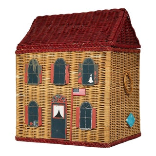 Vintage Schoolhouse Toy Box of Wicker For Sale