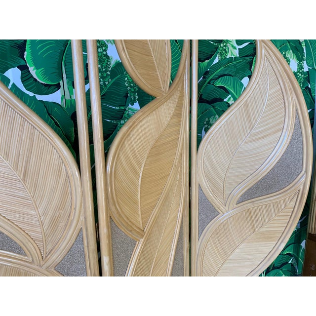 Brown Tropical Rattan Room Divider Folding Screen For Sale - Image 8 of 12