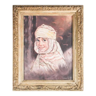Orientalist Oil on Canvas Portrait of Young Berber Moroccan Girl For Sale