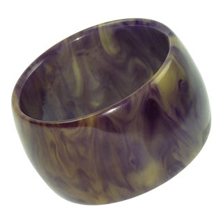 Bakelite Bracelet Bangle Oversized Blue Ink and Custard Marble For Sale