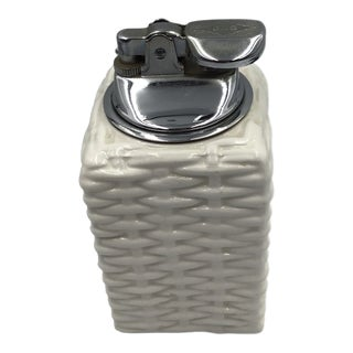 Vintage 1960's Italy White Ceramic Wicker Patterned Table Lighter For Sale