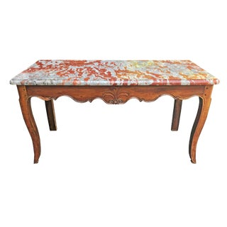 Early 19th C French Provincial Louis XV Marble Topped Console For Sale