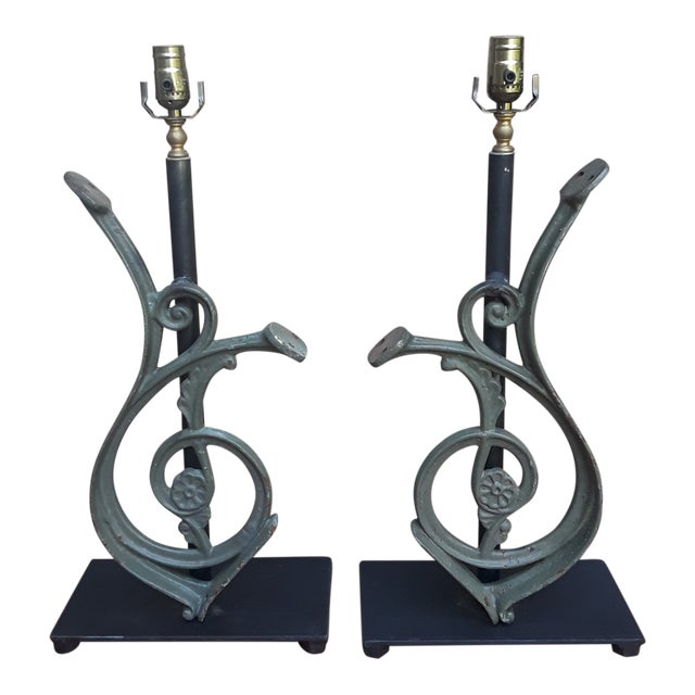 Antique Arm Nouveau Iron Theater Chair Artifact Lamps - a Pair For Sale