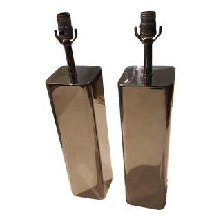 1970s Modern Polished Chrome Table Lamps - A Pair