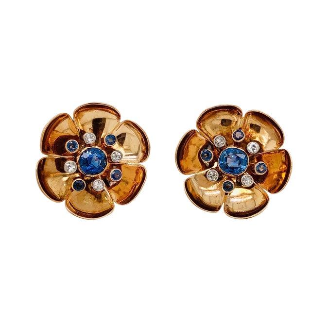 Retro 14k Rose Gold Sapphire Diamond Pierced Clip Earrings For Sale