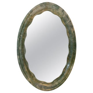 Beautiful Parchment Oval Mirror For Sale