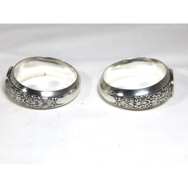 1850s Vintage Coin Silver Napkin Rings - a Pair For Sale - Image 4 of 7