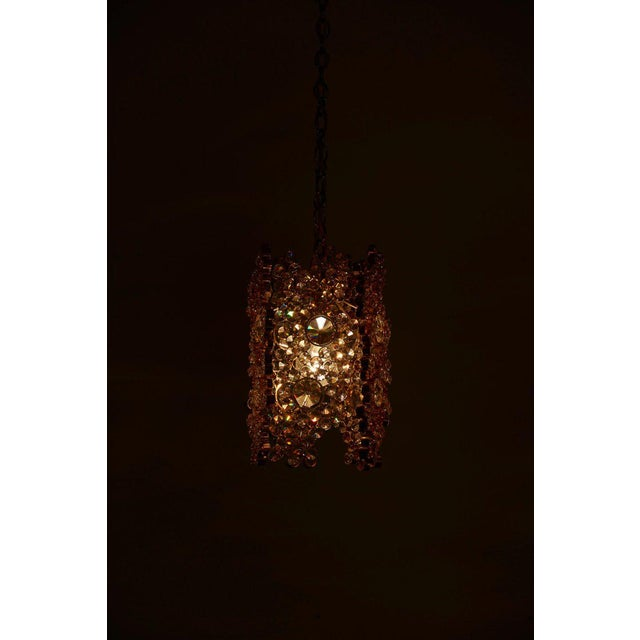 One of Three Palwa Gilded Brass and Crystal Glass Encrusted Pendant Lamps For Sale - Image 6 of 11
