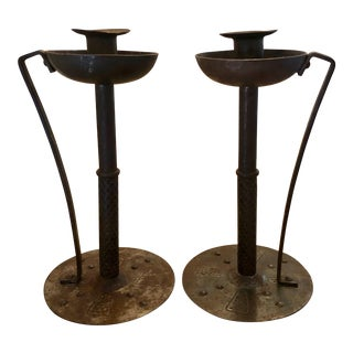 Hammered Iron Arts & Crafts Candlesticks - a Pair For Sale