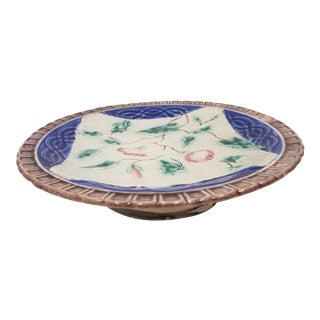 Antique English Majolica Pedestal Plate/ Compote For Sale