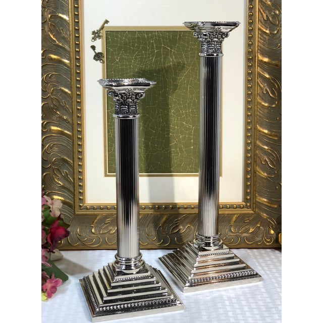 Godinger Corinthian Column Silverplated Candle Holders - a Pair For Sale - Image 9 of 10