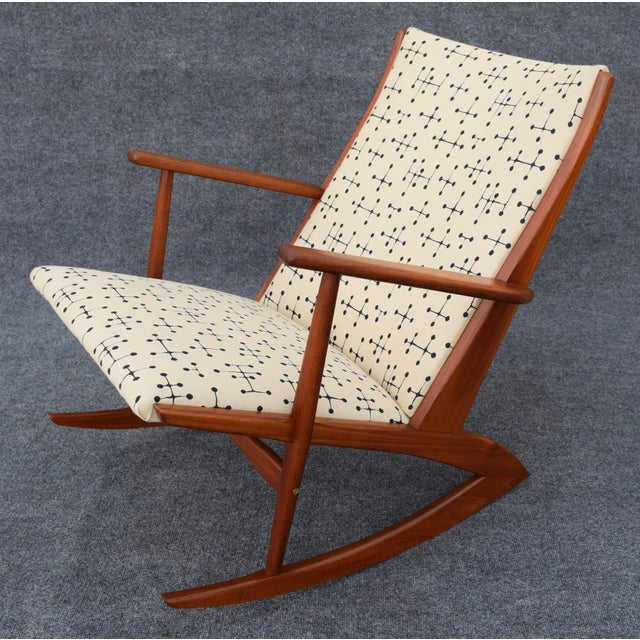 Vintage Georg Jensen for Kubus Danish Mid-Century Boomerang Teak Rocking Chair For Sale - Image 9 of 11