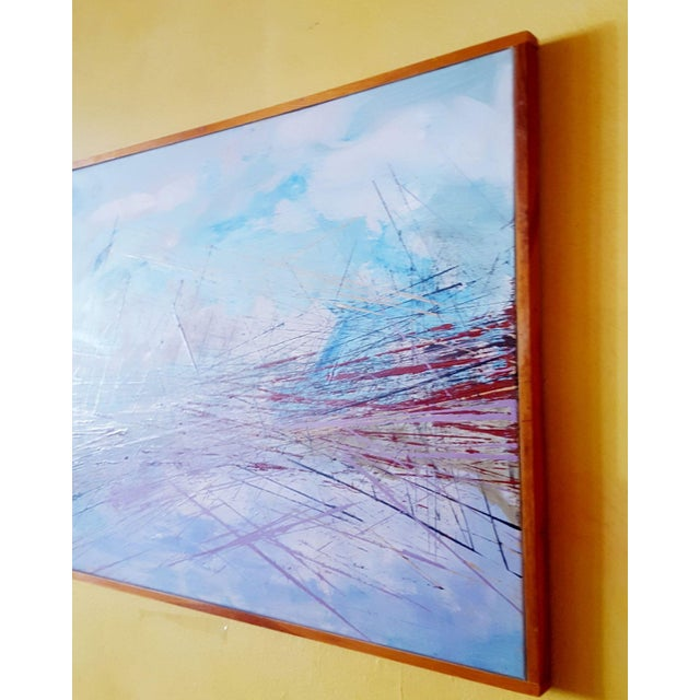"""Abstract Vintage Mid-Century Abstract """"Bridge"""" Painting For Sale - Image 3 of 5"""
