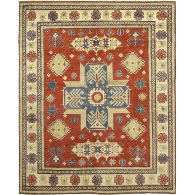 "Casquis, Kazak Area Rug - 8' 0"" X 9' 9"" For Sale - Image 4 of 4"