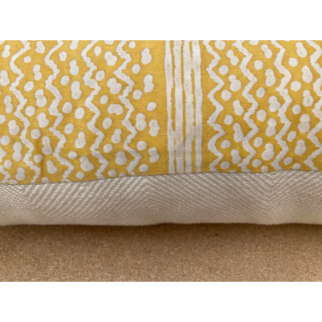 Traditional Fortuny Yellow Tapa Stripe Pillow For Sale - Image 3 of 6