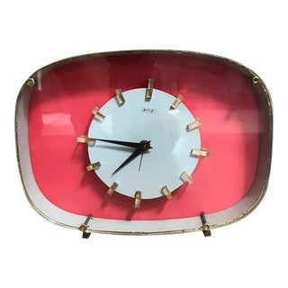 Art Deco Pink Ritz Wind Up Alarm Clock Vintage Italy 1960s For Sale