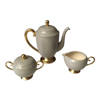 1950s Flintridge China Sylvan-Gray Coffeepot With Creamer and Sugar Bowl - Set of 3 For Sale