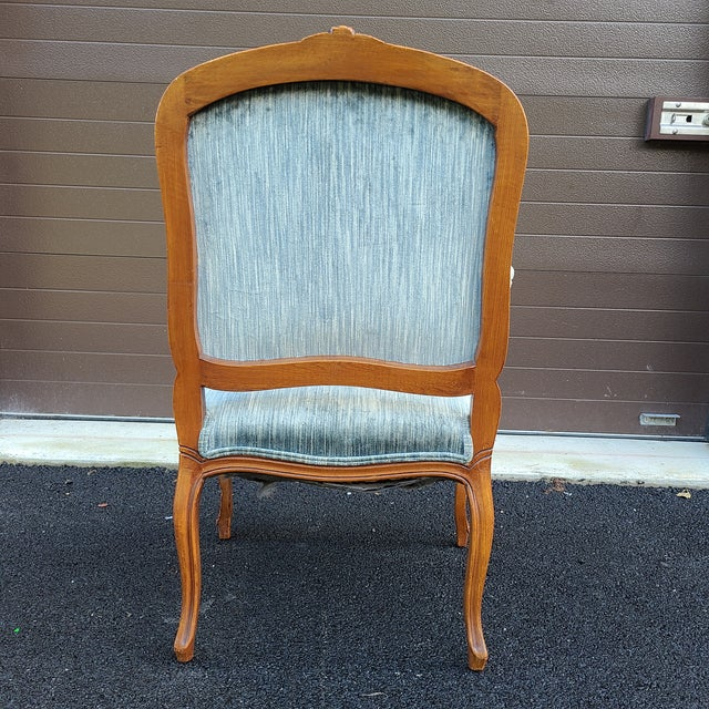 Vintage French Provincial Carved Walnut Occasional Chair For Sale - Image 4 of 13