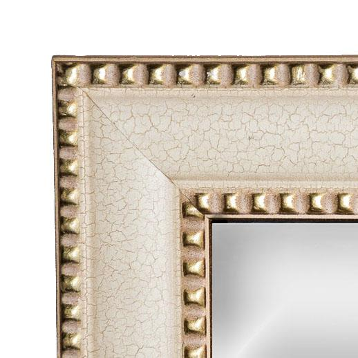 Contemporary Contemporary Cream Crackle Finished Rectangular Wood Framed Wall Mirror For Sale - Image 3 of 8