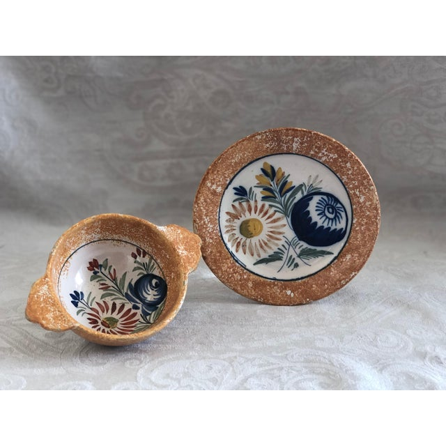 Henriot Quimper French Pottery Bowl & Plate Set For Sale - Image 12 of 13