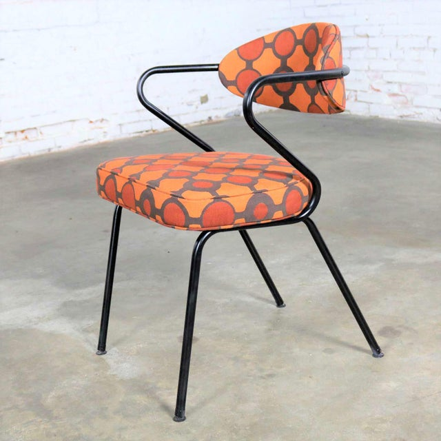 Mid Century Modern Black Bent Steel Tube Armchair With New Orange Upholstery For Sale - Image 13 of 13