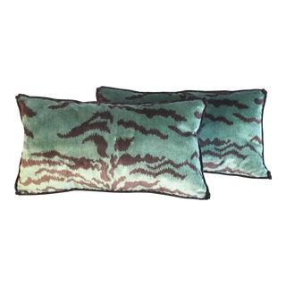Green Tiger Silk Velvet Pillows - a Pair For Sale