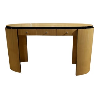 French Black Lacquered Accent Oval Ended Console With Three Drawers For Sale