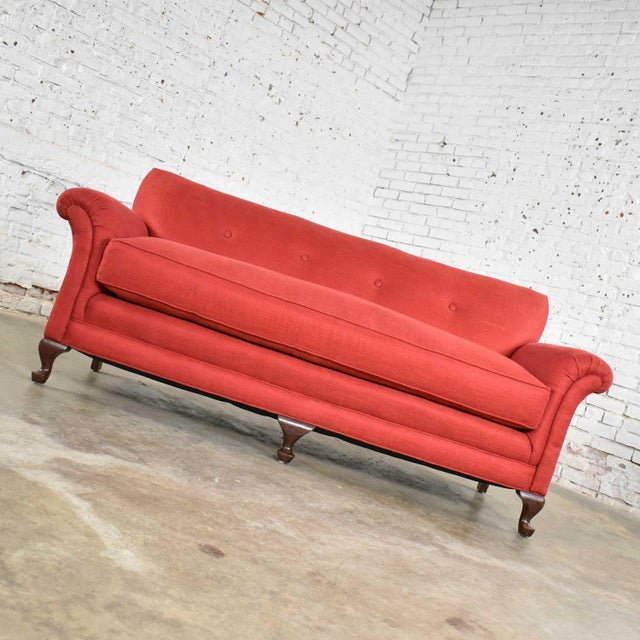 Mid 20th Century Red Smaller Size Lawson Sofa With Rolled Arms Down Bench Seat and Tight Back For Sale - Image 5 of 13