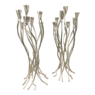 Absract Silver Metal Branches Candle Holders - a Pair For Sale