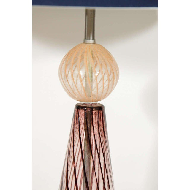 Hollywood Regency Mid Century Modern Murano Glass Lamp With Spiral Color Details For Sale - Image 3 of 6
