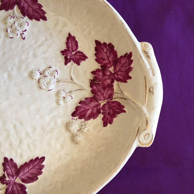 Antique Chesapeake Pottery David Haynes Faience Majolica Raspberries Platter For Sale - Image 4 of 9