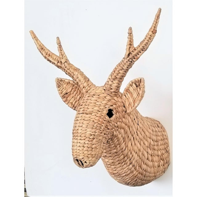 Raffia Seagrass Raffia Wicker Stag Wall Sculpture-Mid Century Modern Tropical Coastal Nautical Rattan Bamboo Tree Taxidermy Antler Mario Lopez Torres For Sale - Image 7 of 13