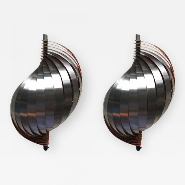 Henri Mathieu pair of aluminium kinetic sconces.