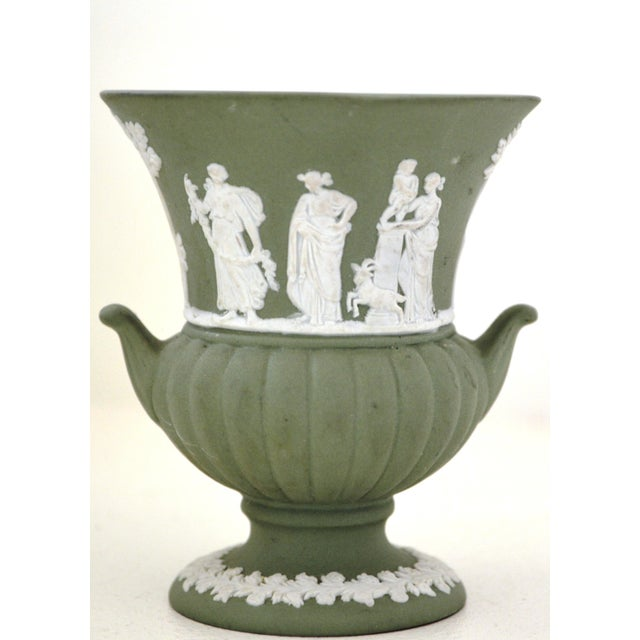 Antique Wedgwood Jasperware Vase White on Green Classic Miniature - Image 3 of 9