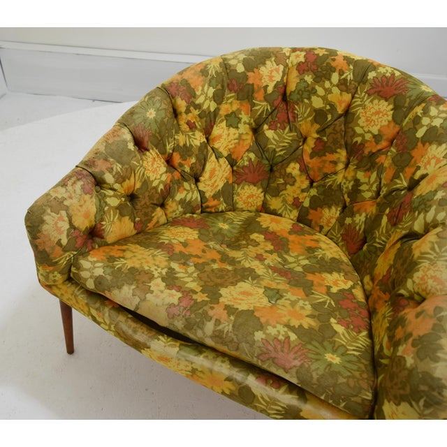 Wood Barrel Back Tufted Floating Chair For Sale - Image 7 of 9