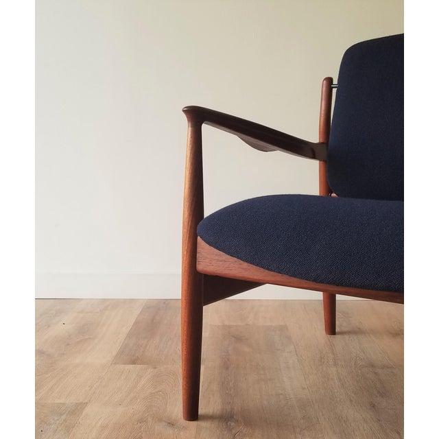 1950s Newly Upholstered Finn Juhl for France & Daverkosen in Kvadrat Wool Teak Lounge Chair (Fd-136) For Sale - Image 9 of 13