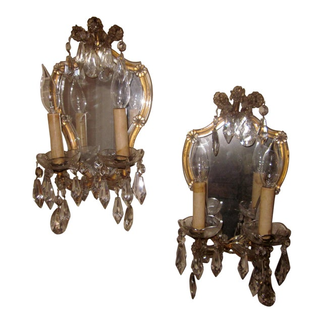 1920s French Louis XV Style Gilt Mirror and Glass Framed Sconces - a Pair For Sale