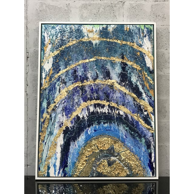 Abstract Abstract Framed Oil Painting With Resin and Rock Crystal on Canvas by Franchy For Sale - Image 3 of 13