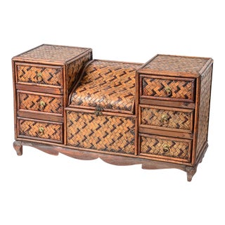 Vintage Whatnot Desk Chest Woven Rattan