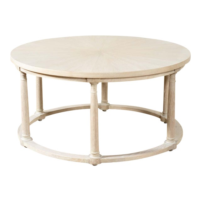 Delos White Oak Round Cocktail Table For Sale