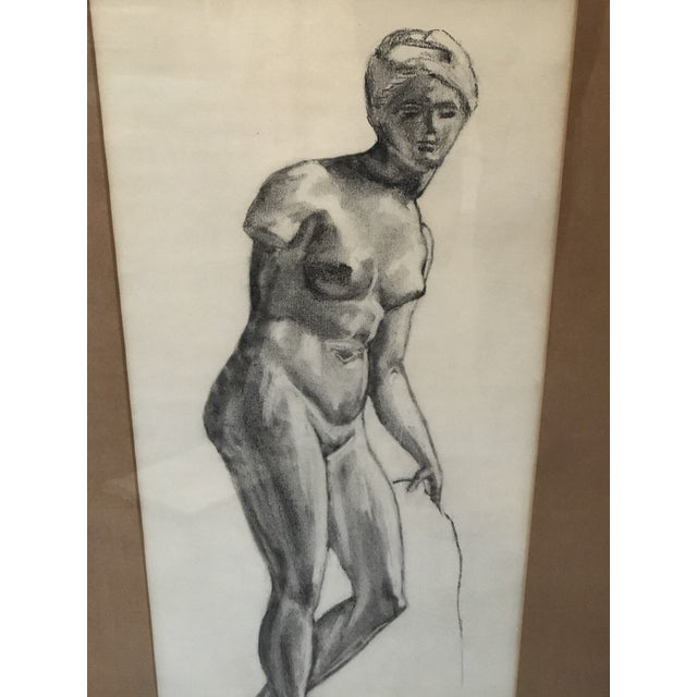 Framed Greek goddess pencil sketch by unknown artist. In overall very good condition. Some wear to frame as seen in photos...