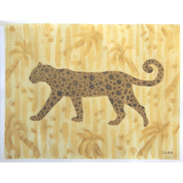 Art Deco Chinoiserie Tiger Leopard Painting in Palm Trees by Cleo Plowden For Sale - Image 3 of 4