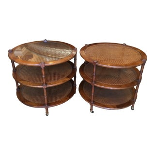 Pair of John Widdicomb Round End Tables