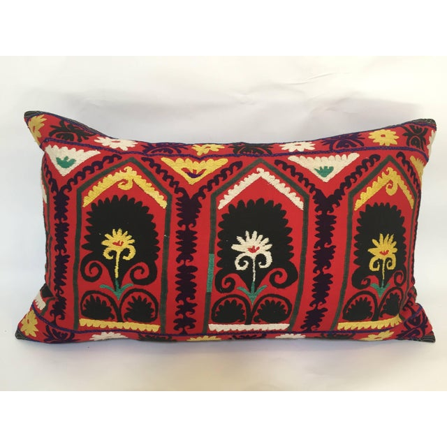 Vintage Large Colorful Suzani Embroidery Decorative Throw Pillow From Uzbekistan For Sale - Image 13 of 13