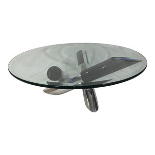 1970s Mid-Century Modern Lucite and Aluminum Glass Cocktail Table For Sale