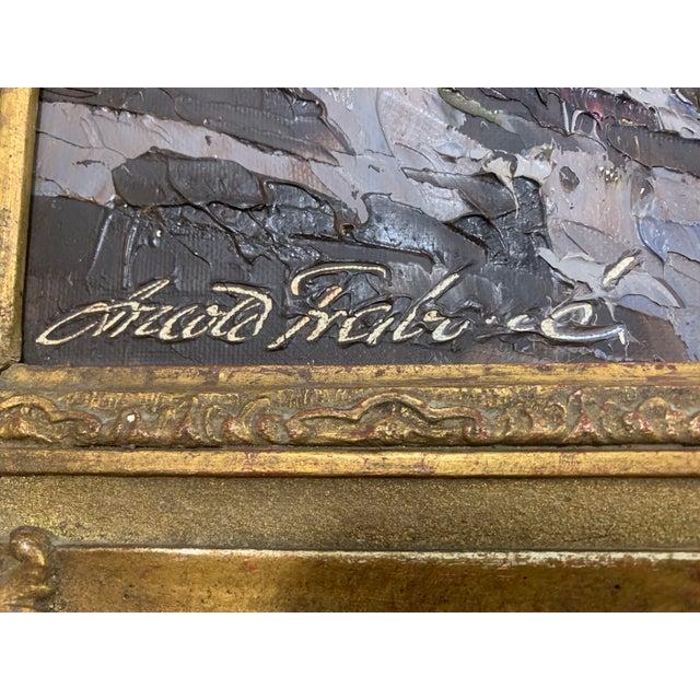 Large Framed Mountain Scene Oil Painting in Gilt Gold Frame For Sale In Denver - Image 6 of 13