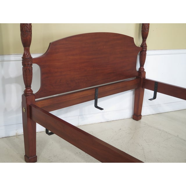 Henkel Harris Queen Size Cherry Rice Carved Poster Bed - Image 6 of 11
